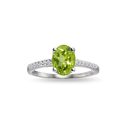 Sterling Silver Peridot and White Topaz Oval Crown Ring, Size - Stone Zirconia Cubic Center Peridot