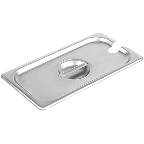 - 1/3 Size Stainless Steel Slotted Steam Table Pan Cover, Pan Lids, Non-Stick Surface, Lid for 1/3 Size Steam Pans with Handle