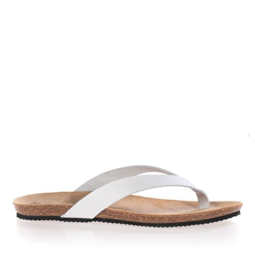 Maria Barcelo Flip Flop Leather White Sandals for Women