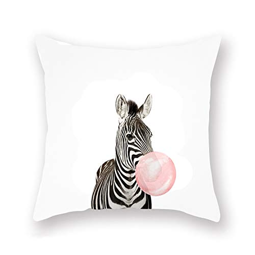 ShareJ Throw Pillow Cover Cute Zebra Blowing Pink Bubble Decor Home Sofa Couch Bed Living Room Decorative Cushion Cover 18 x 18 Super Soft Pillow Case (Zebra Blowing Bubble)