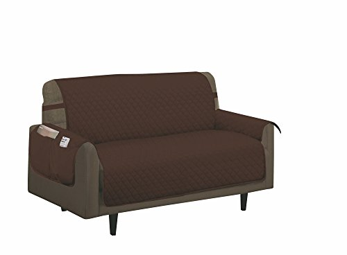 - Home Sweet Home Quilted Slip Cover Furniture Protector (Loveseat, Brown)