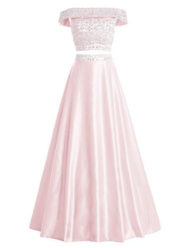Bbonlinedress Vestido De Fiesta Largo Dos Piezas Satén Con Cuentas Escote Envolvente Rosa