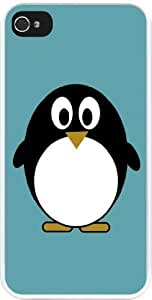 Nice Penguin on Teal Blue Design iPhone 5 & iPhone 5s Case Cover (White Rubber with bumper protection) for Apple iPhone 5 by ruishername