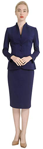 Marycrafts Women's Formal Office Business Work Jacket Skirt Suit Set 10 Dark Blue 2 Piece Skirt Jacket