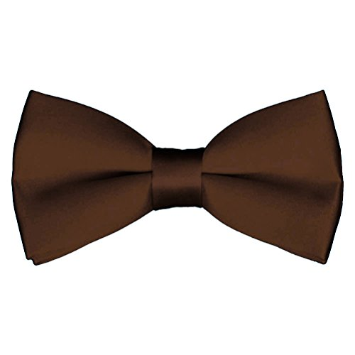 Mens Classic Pre-Tied Satin Formal Tuxedo Bowtie Adjustable Length Large Variety Colors Available, by Platinum Hanger (Brown)