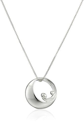 Sterling Silver Mother-and-Child Silhouette Pendant Necklace, 18