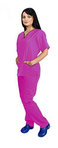 Contrast Trim Scrub Set - NATURAL UNIFORMS Women's Scrub Set Medical Scrub Top and Pants S Hot Pink Set / Black Trim