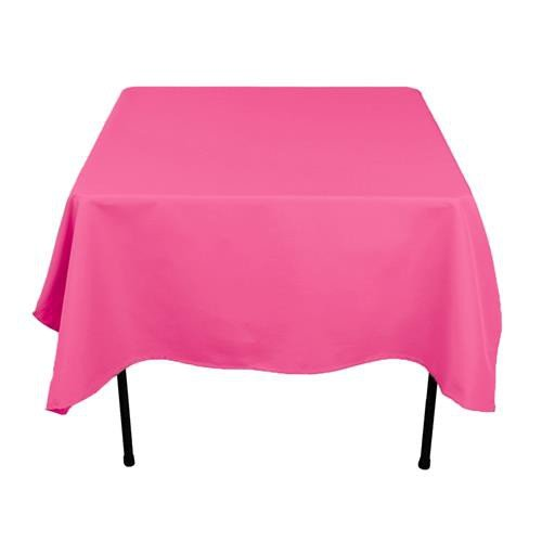 "12 Pack 54"" X 108"" Table Cover Premium Plastic Tablecloth for any Party or Event - White (Hot Pink)"