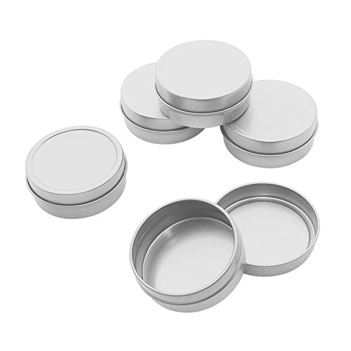 Mimi Pack 2 oz Tins 24 Pack of Shallow Slip Top Round Tin Containers with Lids For Cosmetics, Party Favors and Gifts (Silver)