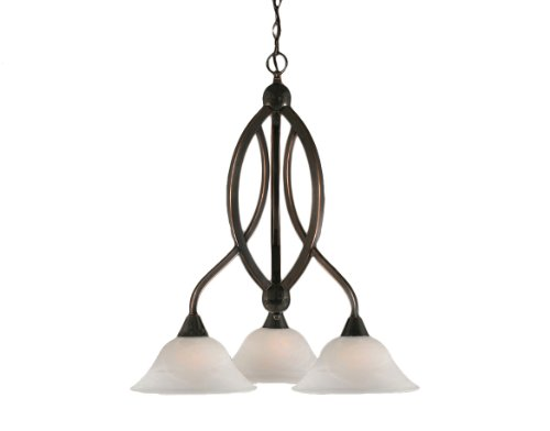Toltec Lighting 263-BC-510 Bow Three-Light Down light Chandelier Black Copper Finish with White Alabaster Glass Shade, 10-Inch