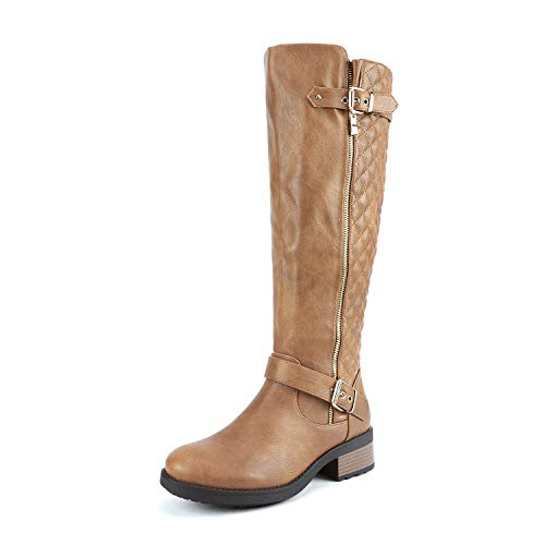DREAM PAIRS Women's Utah Camel Low Stacked Heel Knee High Riding Boots Size 8 M US