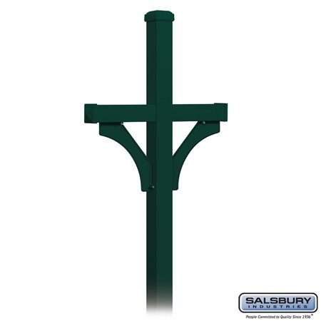 picture of Salsbury Industries 4372GRN Deluxe Post 2 Sided In-Ground Mounted for Roadside Mailbox, Green
