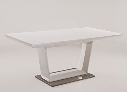 Creative Images International Minimalist Collection Extendable Wood Dining Table with Stainless Steel Base, White Lacquer (Table Extending Set Dining)