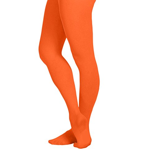 (EMEM Apparel Women's Ladies Solid Colored Opaque Dance Ballet Costume Microfiber Footed Tights Stockings Fashion Neon Orange D)