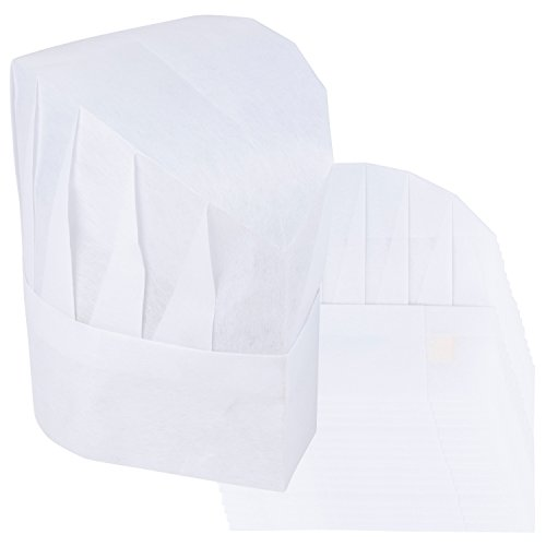 Chef Hats - 48-Pack Disposable White Paper Chef Toques, Chef Supplies, Adjustable Professional Kitchen Chef Caps for Baking, Culinary Hygiene, Cooking Safety, 23-24.4 Inches in Circumference