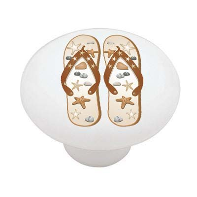 Star Fish Flip Flops High Gloss Ceramic Drawer Knob Decoration Sensation