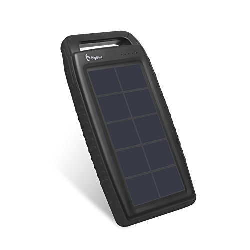 Solar Powered Charger, BigBlue Solar Power Bank 10000mAh IPX4 Waterproof Dual USB Ports Emergency Solar Powered Charger with 6 LED Light Fast Charging for Cellphone Tablet and More Devices (Black)