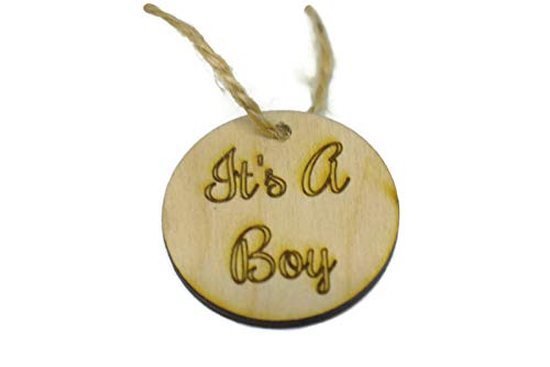 OzarkCraftWood It's a Boy Wood Hang Tags Favor Decoration Baby Shower Decor, 20 -