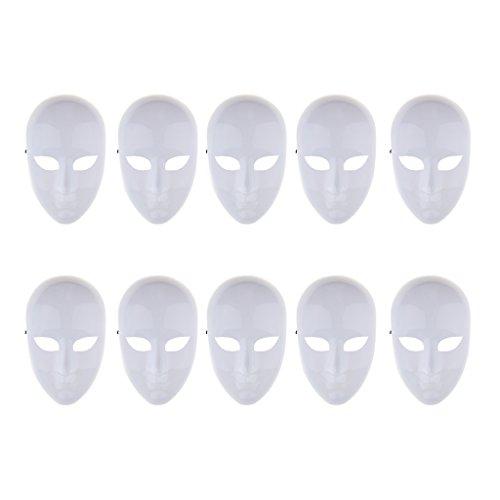 Perfk 10個 空マスク 無塗装 仮面 塗料 落書き 手描き 子供 マーカー 芸術作品 ホワイト 10個の商品画像
