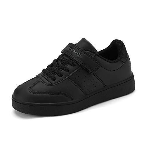 DREAM PAIRS Boys Girls All Black School Loafers Sneakers Shoes Size 1 Little Kid Alfier