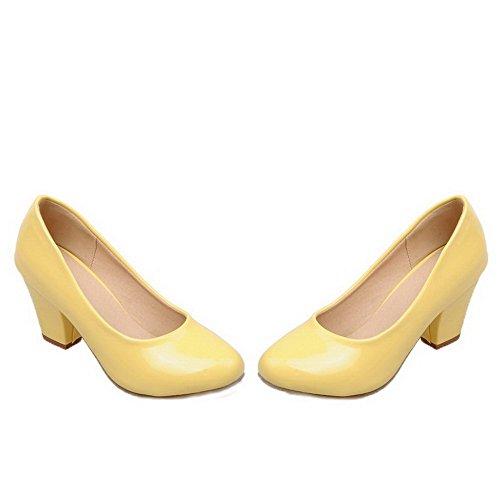 à Jaune chaussures plates à rond pour 34 en rond verni cuir Odomolor Chaussures femmes enfiler à bout talon 4Wwaq6FFzR