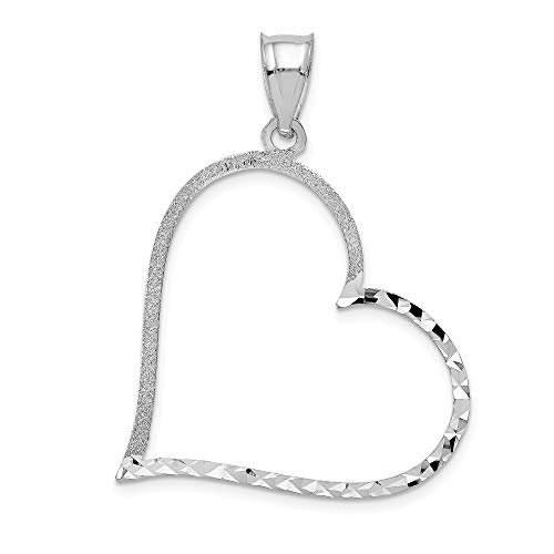Real 14kt White Gold Solid Diamond-cut Large Reversible Heart Pendant ()
