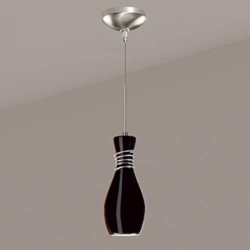 A19 Amphora Mini Pendant, 4-Inch Width by 9.25-Inch Height, Black Gloss