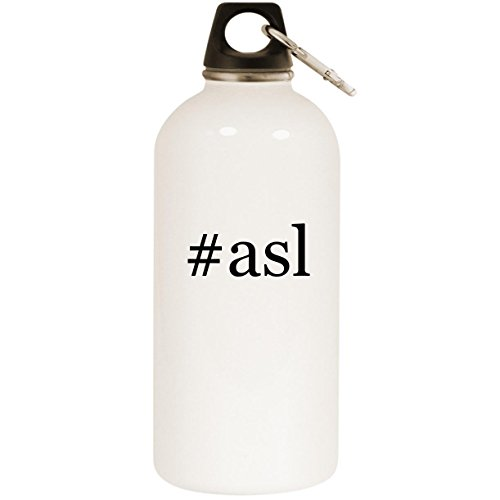 Molandra Products #ASL - White Hashtag 20oz Stainless Steel Water Bottle with Carabiner (Best Asl Learning App)
