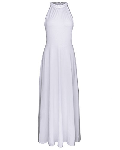 STYLEWORD Women's Off Shoulder Elegant Maxi Long Dress(White,M)