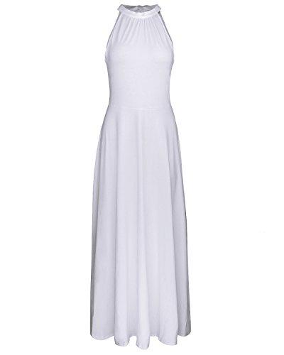 STYLEWORD Women's Off Shoulder Elegant Maxi Long Dress(White,L)