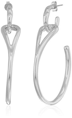 H Halston Sculptural Links Women's Silver Open Hoop Drop Earrings, Rhodium, One Size from H Halston