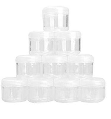 Kanggest Pack of 10 Empty Cosmetic Container Travel Refillable Plastic Cosmetic Jars for Creams/Lotion/Powder/Mineral/Cream/Sample Size 20g(Transparent)