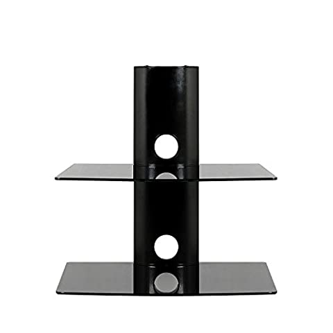 SevenFanS Floating Shelf Wall Mounted Tempered Glass Shelf for DVD Player/AV Receiver/TV Accessories, Black,2- Tier,Load Capacity 50lbs