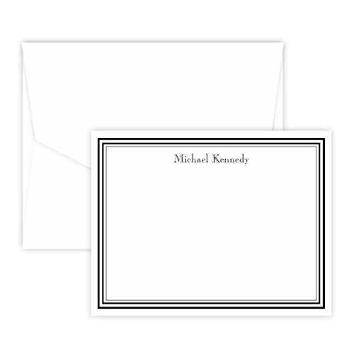 Premium Personalized Stationery Note Cards with Raised Black Ink