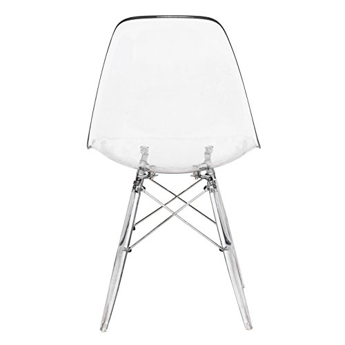 LeisureMod Calbert Molded Plastic Dining Chair with Acrylic Eiffel Base (Clear) by LeisureMod (Image #3)