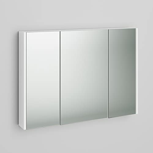 900mm White Gloss Wall Hung 3 Door Bathroom Mirror Cabinet Storage Unit