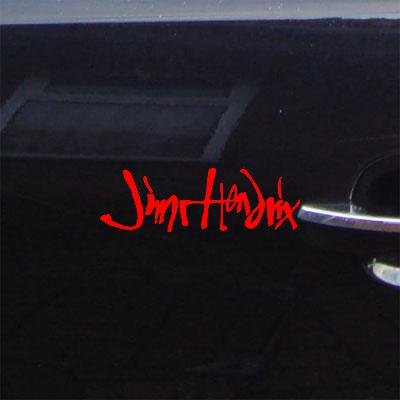 Jimi Hendrix Signature Guitar Logo Wall Art Bike Sticker Decal Wall Decor Art Red Macbook Decoration Die Cut Window Vinyl Car
