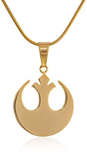 Star Wars joyas unisex Rebel Alliance Acero Inoxidable Oro Ip Cadena pequeña collar con colgante