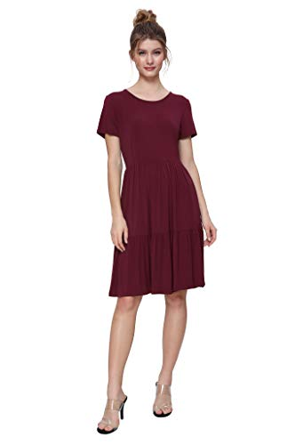 - Weintee Women's Swing Casual Dress Tiered Knee Length Dress 2X Wine Red