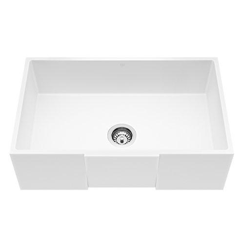 VIGO VGRA3018SQ 30'' x 18'' Handmade Matte Stone Farmhouse Kitchen Sink with Strainer, Composite Solid Surface Single Bowl Apron Front, Matte White Finish