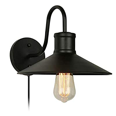 KIVEN Dimmable Wall Sconce E26 UL Certification Plug-In Dimmer Switch Cord Lighting Vintage Industrial Loft Style Wall Lamp For Dining Room Kitchen Bedroom ?Bulb Included