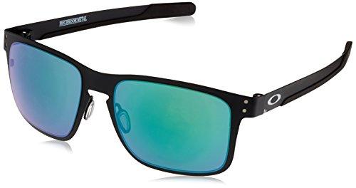 Oakley Men's OO4123 Holbrook Metal Square Sunglasses, Matte Black/Jade Iridium, 55 ()