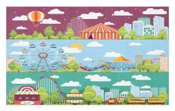 Ambesonne Circus Doormat, Conceptual City Banners with Carousels Slides and Swings Ferris Wheel Attraction, Decorative Polyester Floor Mat with Non-Skid Backing, 30 W X 18 L Inches, Multicolor ()