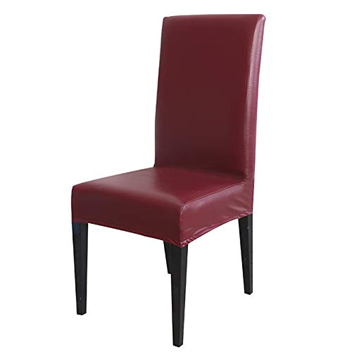 (PU Leather Fabric Material Pure Color Chair Cover Waterproof Dining Seat Chair Covers Hotel Banquet Seat Covers Chair Protector Wine Universal Size)