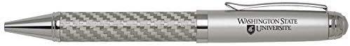 LXG Washington State University Inc Carbon Fiber Ballpoint Pen-Silver