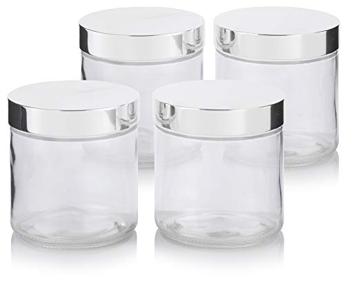 Large Clear Thick Glass Straight Sided Jar with Silver Metal Overshell Lid - 16 oz / 480 ml (4 Pack) + Labels