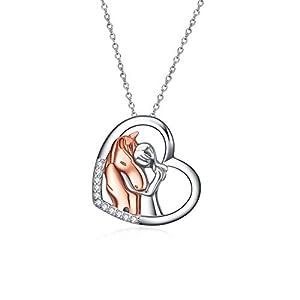 YFN Collier avec pendentif cheval en argent sterling 925 pour filles