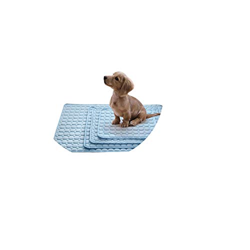 Pet Mat Dog Cat Rectangular Washable Summer Ice Silk Cooling Sleeping Floor Cage Bed Pad Seat Cushion,Blue,S
