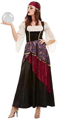(Ladies Deluxe Unfortunate Fortune Teller Gypsy Carnvival Circus TV Series Halloween Fancy Dress Costume Outfit (UK)