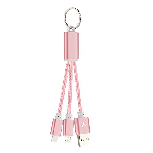 Ultra Drive Pro Digital Crossover - Mingus 2 in 1 Nylon Braided USB Charge Cable for IOS / Android Metal Keychain Design Data Cable Lightning Cable Charging Cable for iPhone,iPad mini,iPad air, Samsung and other Android Phone -Rose Gold